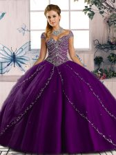 Popular Purple Sweetheart Lace Up Beading Quinceanera Dress Brush Train Cap Sleeves