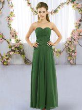 Designer Ruching Vestidos de Damas Green Lace Up Sleeveless Floor Length