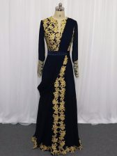 Glittering Navy Blue Zipper Prom Gown Lace and Appliques Long Sleeves Floor Length