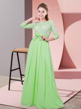 Chiffon Side Zipper Quinceanera Court Dresses 3 4 Length Sleeve Floor Length Lace and Belt