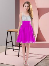 Scoop Sleeveless Chiffon Vestidos de Damas Beading Side Zipper