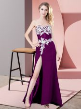 Comfortable Lace and Appliques Prom Dress Eggplant Purple Zipper Sleeveless
