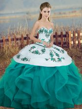 Turquoise Sleeveless Embroidery and Ruffles and Bowknot Floor Length Sweet 16 Dresses