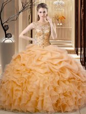 Sophisticated Sleeveless Organza Floor Length Lace Up Sweet 16 Dress in Orange with Beading and Ruffles