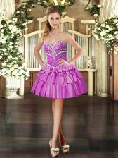 Lilac Sleeveless Beading Mini Length Prom Dresses