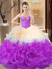 Multi-color Sleeveless Beading and Ruffles Floor Length Sweet 16 Dresses