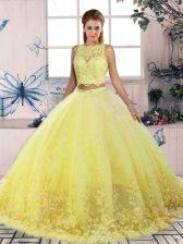 Yellow Scalloped Backless Lace Sweet 16 Dress Sweep Train Sleeveless