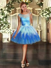 Great Sleeveless Organza Mini Length Backless Prom Evening Gown in Multi-color with Lace and Ruffles