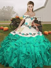 Beauteous Turquoise Lace Up Off The Shoulder Embroidery and Ruffles Vestidos de Quinceanera Organza Sleeveless