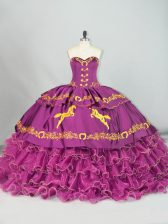 Admirable Purple Sleeveless Satin and Organza Brush Train Lace Up Sweet 16 Dresses for Sweet 16 and Quinceanera