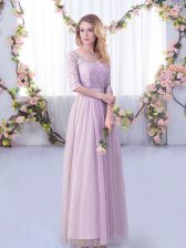 Lavender Dama Dress for Quinceanera Wedding Party with Lace and Belt V-neck Half Sleeves Side Zipper