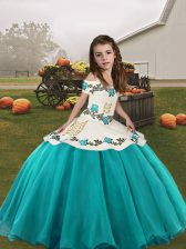 Fashionable Aqua Blue Sleeveless Organza Lace Up Pageant Dress for Girls for Party and Military Ball