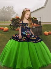 Perfect Lace Up Straps Embroidery Pageant Gowns For Girls Organza Sleeveless