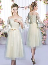 Wonderful Champagne Tulle Lace Up Damas Dress 3 4 Length Sleeve Tea Length Lace and Bowknot