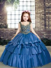 Blue Ball Gowns Straps Sleeveless Taffeta Floor Length Lace Up Beading Kids Pageant Dress