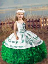 Most Popular Green Organza Lace Up Straps Sleeveless Floor Length Pageant Dress Wholesale Embroidery and Ruffles