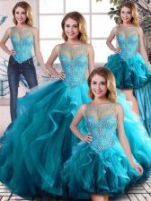 Glamorous Tulle Scoop Sleeveless Lace Up Beading and Ruffles Sweet 16 Dresses in Aqua Blue
