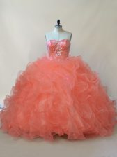 Organza and Tulle Sweetheart Sleeveless Lace Up Beading and Ruffles Sweet 16 Dress in Orange