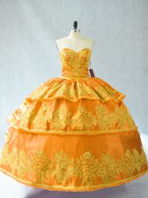Superior Gold Sleeveless Floor Length Embroidery and Ruffled Layers Lace Up Sweet 16 Dress