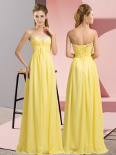 Yellow Sleeveless Beading Floor Length Prom Evening Gown