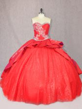 Sophisticated Red Ball Gowns Sweetheart Sleeveless Tulle Floor Length Court Train Lace Up Embroidery Vestidos de Quinceanera
