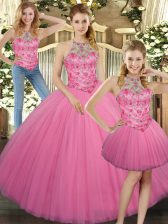 Elegant Rose Pink Three Pieces Tulle Halter Top Sleeveless Embroidery Floor Length Lace Up Quinceanera Gowns