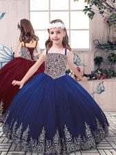 Fashionable Straps Sleeveless Little Girl Pageant Gowns Floor Length Beading and Embroidery Blue Tulle