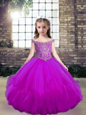 Elegant Sleeveless Tulle Floor Length Lace Up Pageant Gowns For Girls in Fuchsia with Beading