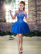 Most Popular Ball Gowns Dress for Prom Royal Blue Halter Top Tulle Sleeveless Mini Length Lace Up