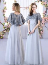 Grey Tulle Lace Up Straps Sleeveless Floor Length Court Dresses for Sweet 16 Appliques