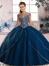 Sexy Blue Ball Gowns Beading 15 Quinceanera Dress Lace Up Tulle Cap Sleeves