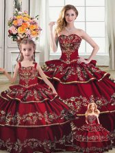 Fashion Sweetheart Sleeveless Ball Gown Prom Dress Floor Length Embroidery and Ruffled Layers Wine Red Satin and Organza