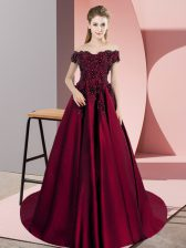 Pretty Wine Red Off The Shoulder Zipper Appliques Quinceanera Gown Court Train Sleeveless
