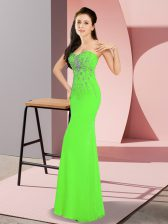 Custom Designed Floor Length Zipper Evening Dress for Prom and Party with Beading