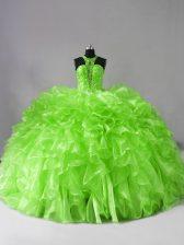 Halter Top Sleeveless Organza Quinceanera Dresses Beading and Ruffles Brush Train Zipper