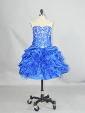 Beading and Ruffles and Pick Ups Homecoming Dress Blue Lace Up Sleeveless Mini Length