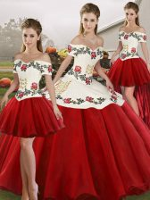 White And Red Sleeveless Floor Length Embroidery Lace Up 15 Quinceanera Dress