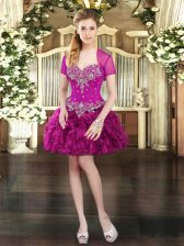 Ball Gowns Prom Evening Gown Fuchsia Sweetheart Organza Sleeveless Mini Length Lace Up