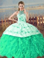 Embroidery and Ruffles Quinceanera Gowns Turquoise Lace Up Sleeveless Court Train