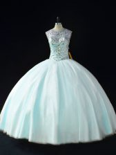 Smart Scoop Sleeveless Lace Up 15 Quinceanera Dress Apple Green Tulle