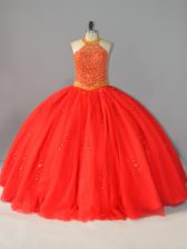 Decent Floor Length Lace Up Quinceanera Gown Red for Sweet 16 and Quinceanera with Beading