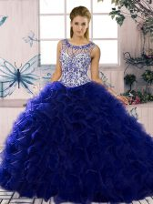 Stunning Organza Sleeveless Floor Length Sweet 16 Dress and Beading and Ruffles