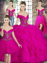 Great Off The Shoulder Sleeveless Lace Up 15 Quinceanera Dress Fuchsia Tulle