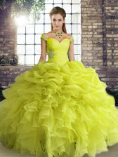 Fabulous Yellow Green Off The Shoulder Lace Up Beading and Ruffles and Pick Ups Quince Ball Gowns Sleeveless