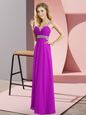 Purple Homecoming Dress Prom and Party with Beading Straps Sleeveless Criss Cross