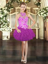Nice Fuchsia Sleeveless Mini Length Embroidery and Ruffles Lace Up Dress for Prom