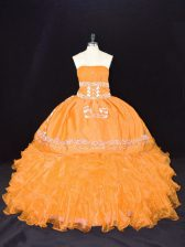 Gold Sweet 16 Dresses Sweet 16 and Quinceanera with Embroidery and Ruffles Strapless Sleeveless Lace Up