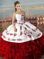 Floor Length Ball Gowns Sleeveless White And Red Quinceanera Gowns Lace Up