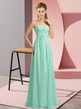 Beading Prom Party Dress Apple Green Lace Up Sleeveless Floor Length