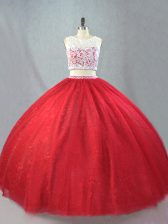 Noble Red Scoop Neckline Beading and Appliques Ball Gown Prom Dress Sleeveless Zipper